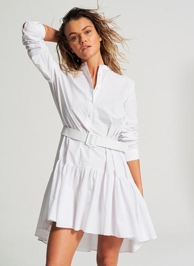 Pi π Arkası Uzun Gömlek Elbise Beyaz